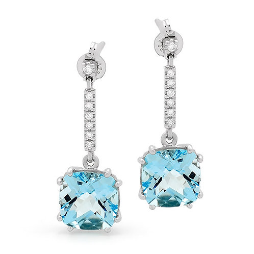 """Skylar"" Blue Topaz and Diamond Earrings"