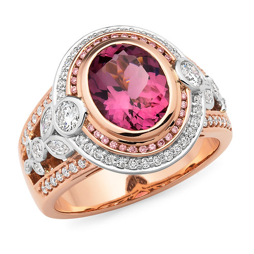 """Pink Martini"" Pink Tourmaline, Pink and White Diamond Dress Ring"