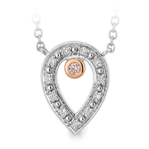 """""""Glimmer"""" Pink and White Diamond Necklet"""