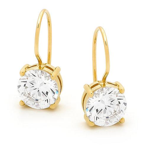 """""""Starbrite"""" Gold Sheppard Hook Cubic Zirconia Drop Earrings"""