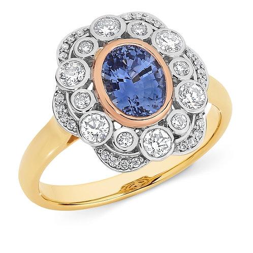 """Floret"" Ceylon Sapphire and Diamond Cocktail Ring"