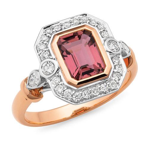 """""""Cayla"""" Pink Tourmaline and Diamond Dress Ring"""