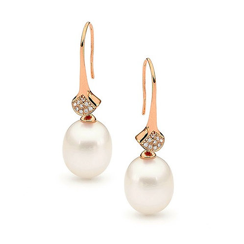 """Anabel"" Freshwater Pearl and Diamond Earrings"