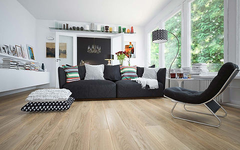 Contemporary Living Room with Natural Oiled Oak Floor and Black Couch