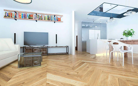 Modern Bright Interior witch Country Style Chevron Patterned Oak Floor