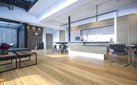 Modern Large Kitchen with Natural Oak Timber Floor