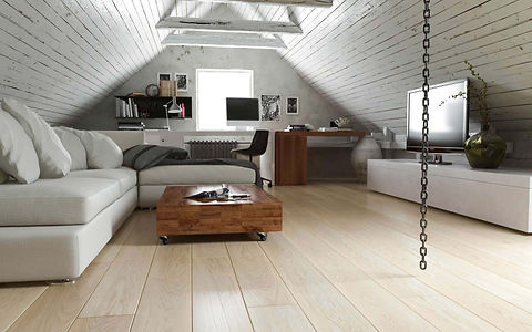 Room On The Attic With Scandinavian Style White Oak Timber Flooring