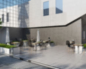 Frost resistant tiles are used as a cladding for terraces and building facades.