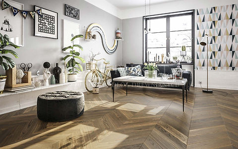 Contemporary Interior with Coffee Table, Plants and Brown Oak Floor in Chevron Pattern