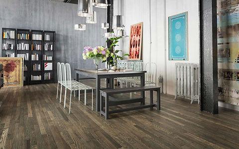 Minimal Dining Room with Vintage 1950's Noir Timber Flooring