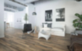 Minimal Living Room with Vintage 1980's Mocca Cherry Timber Flooring