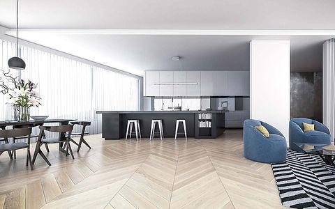 Minimal Black and White Kitchen with Whitewash Oak Floor in Chevron Pattern