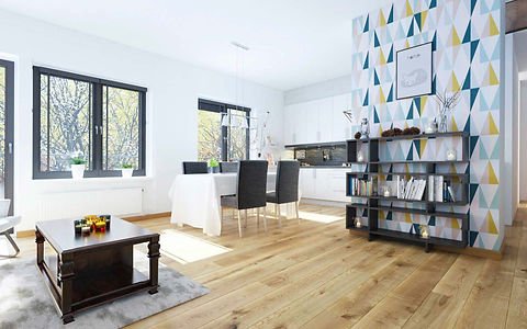 Contemporary Apartment with Natural Oak Timber Flooring