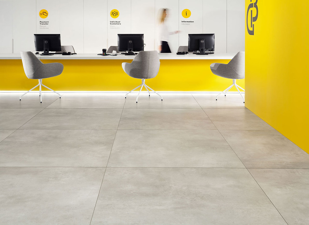 A bank tiled with Large Format Tiles Epoxy Grey Matt 1200x1200mm