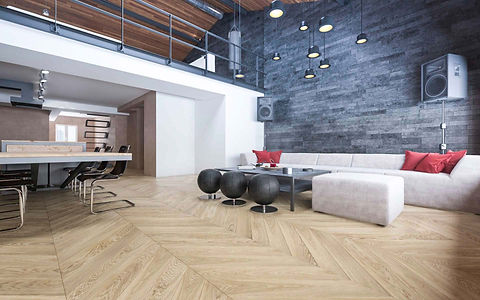 Modern Interior with Stone Feature Wall, Mezzanine and Natural Oak Floor in Chevron Pattern