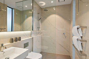 Bathroom with White Marble Large Format Tiles at 155 Puriri Street, Christchurch