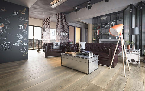 High End Apartment with Very Wide Natural Oak Timber Flooring and Chesterfield Couch