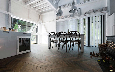 Industrial Dining Room with White Walls and Dark Brown Oak Floor in Chevron Pattern