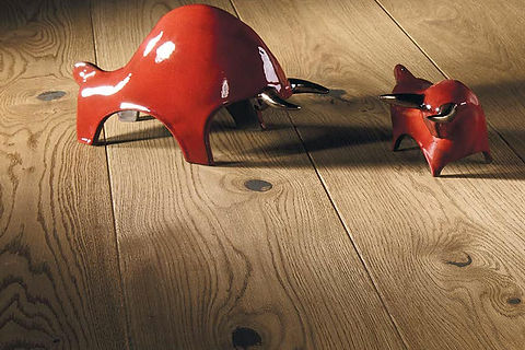 Natural Oak Engineered Timber Flooring with Red Sculpture