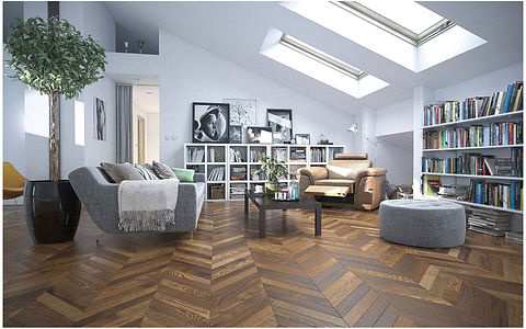 Contemporary Living Room with Skylight Windows and Brown Wooden Floor in Chevron Pattern