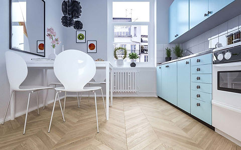 Small Kitchen with Pale Blue Cabinets and Natural Chevron Pattern Oak Floor