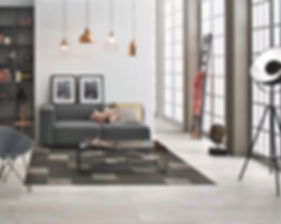 Rectified tiles Tigua Bianco collection, glazed porcelain stoneware, rectified, matt 1198 x 598 mm, Tigua Brown collection 598 x 598 mm, Tigua Beige collection inserts 298 x 298 mm.