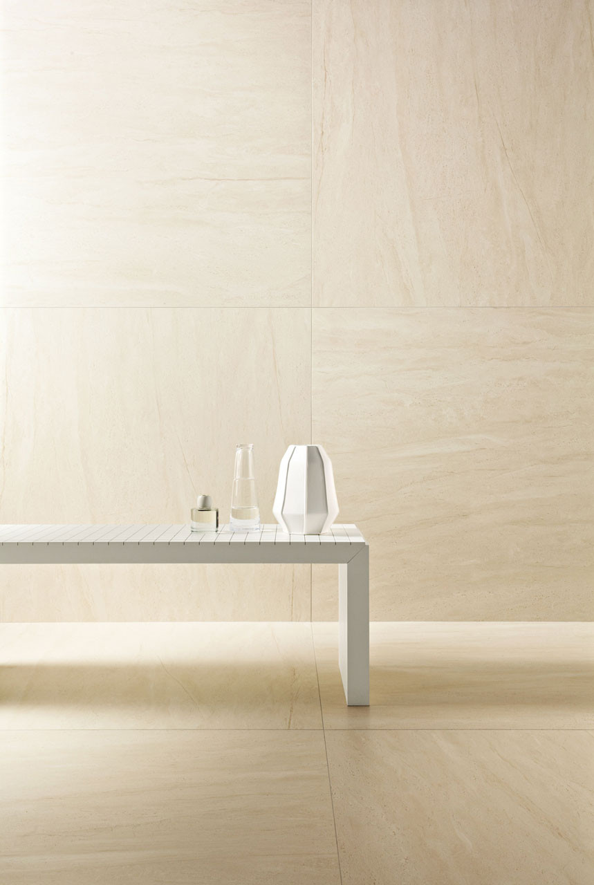 SPA salon with Large Format Wall and Floor Tiles Fair Beige Matte tiles 1200x1200mm