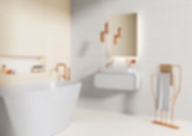White And Cream Wall Tiles In Bathroom With Free Standing Bath and Copper Taps and Bathroom Accesories
