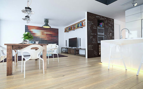 Contemporary Living Room with Natural Oiled Oak Floor and Blackboard Paint