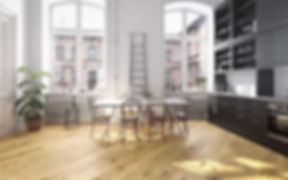 Classic Oak Timber Floor in Classic Interior with High Ceiling and Large Windows