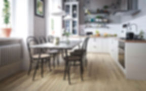 Classic Kitchen with Vintage 1960's Touch of Grey Timber Floor