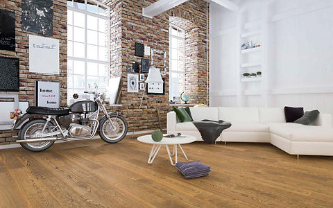 Loft Style Apartment with Brick Wall and Honey Brown Natural Oak Timber Flooring
