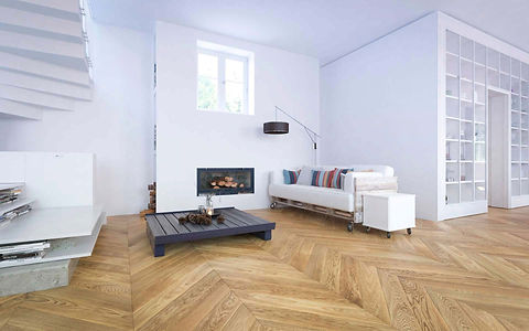 Minimal White Interior with Build-in Fireplace, White Couch and Classic Oak Chevron Floor