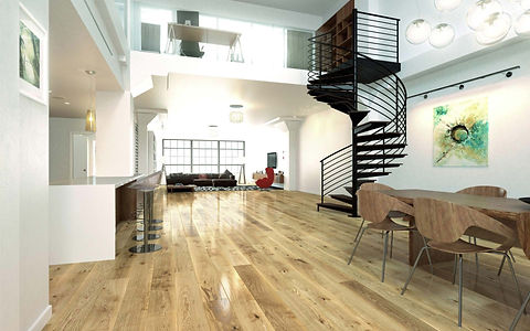 Classic Oak Timber Floor in Modern Interior with Mezzanine and Black Spiral Stairs