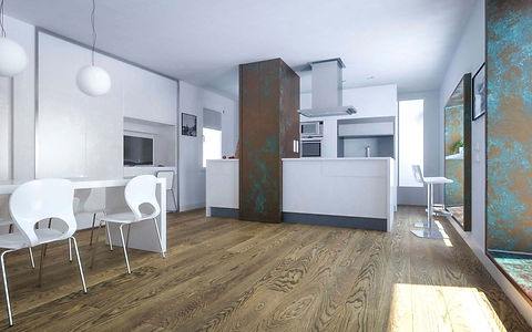 White Kitchen and Dining Room with Grey Brown Wide Oak Timber Flooring