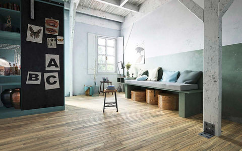 Industrial Interior with Vintage 1970's Dusty Brown Timber Flooring