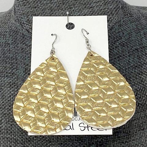 GOLD BRAIDED LEATHER TEAR DROP EARRINGS by Corso Custom Jewelry