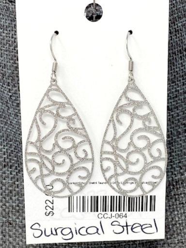 SPARLY SILVER SWIRL TEAR DROP EARRINGS by Corso Custom Jewelry