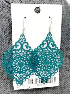 SPARKLY TEAL SPINDLE DROP EARRINGS by Corso Custom Jewelry