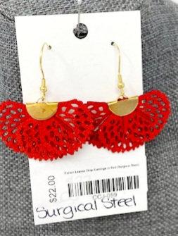 FALLEN LEAVES IN RED DROP EARRINGS by Corso Custom Jewelry