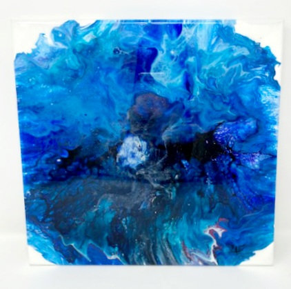 BLUE TWINKLE ACRYLIC POUR PAINTING by Louise Fedirko