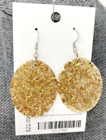GOLD SEQUINED LEATHER OVAL DROP EARRINGS by Corso Custom Jewelry