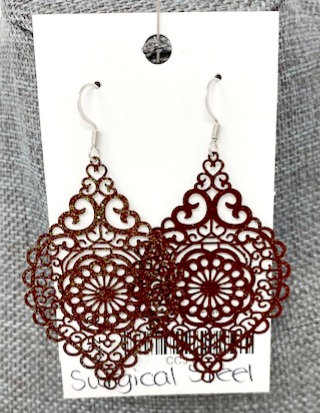 SPARKLY DEEP RED SPINDLE DROP EARRINGS by Corso Custom Jewelry