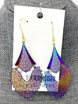 RAINBOW FLORAL FEATHER DROP EARRINGS by Corso Custom Jewelry