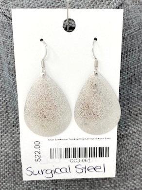 SILVER SPARKLEDUST TEAR DROP EARRINGS by Corso Custom Jewelry