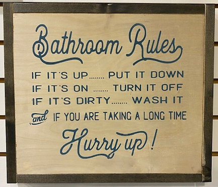 BATHROOM RULES SIGN by Dusty Road Designs