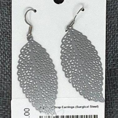 SILVER LEAF DROP EARRINGS by Corso Custom Jewelry