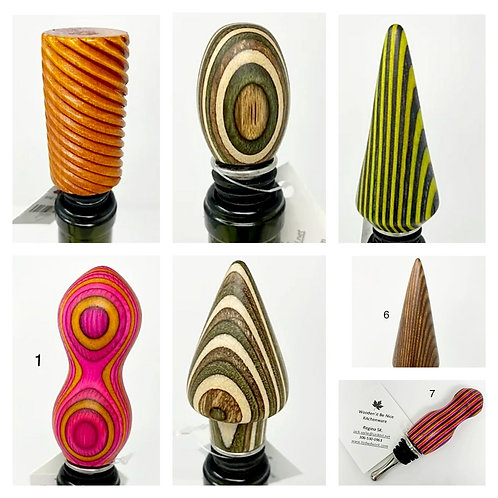 WINE BOTTLE STOPPERS by Turns of Distinction Woodwork