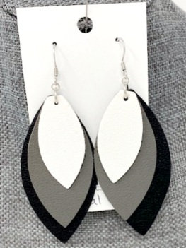WHITE GREY BLACK LAYERED LEATHER DROP EARRINGS by Corso Custom Jewelry