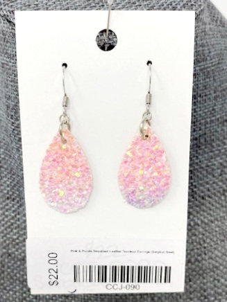PINK & PURPLE SEQUINED LEATHER TEAR DROP EARRINGS by Corso Custom Jewelry
